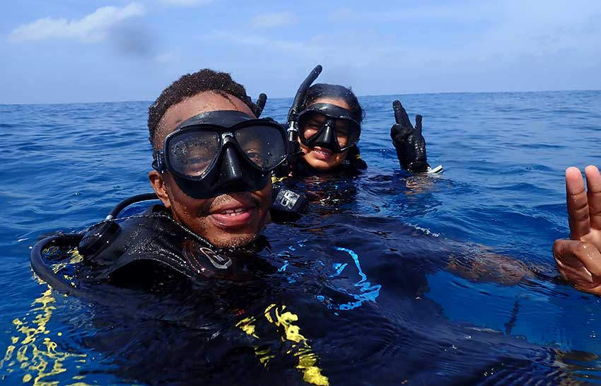 Dailus and Athina took part in monitoring activities in the Cousin Island MPA